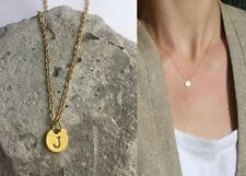 "Delicate Gold Round Disc "" J "" Letter Initial Pendant Necklace 18""L chain Urban"