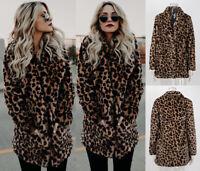 Women's Winter Warm Faux Fur Leopard Jacket Coat Outwear Tops Thicken Overcoat