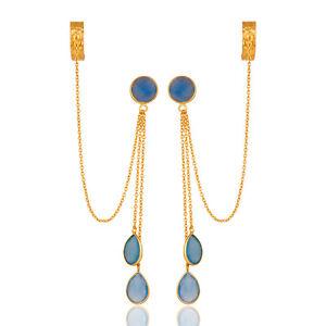 18K Gold Plated Chalcedony Ear Cuff Dangle Earrings Silver Gemstone Jewelry