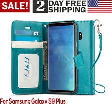 Womens Wallet Case For Galaxy S9 Plus Samsung Pouch Purse Smart Phone Cover Aqua