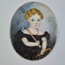 More details for antique 19th century portrait miniature of a young girl with riding crop