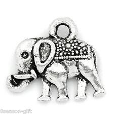 "50PCs Charm Pendants Elephant Animal Silver Tone 14mmx12mm(4/8""x4/8"")"