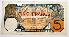 Billet 5 Francs Afrique Occidentale Dakar 1919 rare
