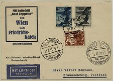 ÖSTERREICH 1931 FLUGPOST! ZEPPELIN! KARTE, ÖSTERREICHFAHRT, - BRAUNSCHWEIG 118A