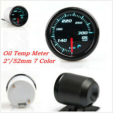 "2"" 52mm 7 Color LED Car SUV Oil Temperature Gauge 100-300 Fahrenheit Degree 12V"