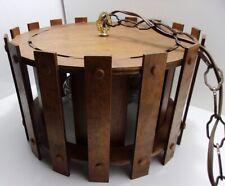 VTG MCM Danish Modern Wood Barrel Slat Hanging Pendant Swag Light