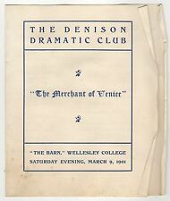 1901 WELLESLEY COLLEGE Merchant of Venice Program DENISON DRAMATIC CLUB Barn