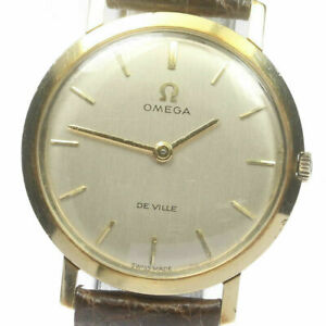 Wrist Watch OMEGA DE VILLE Men's Analog Silver Brown Stainless Hand Winding USED