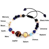 Universe Planets Bead Bangles Natural Solar System Energy Bracelet For Women Men