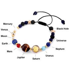 Universe Planets Bead Bangles Natural Solar System Energy Bracelet Jewelry Gifts