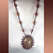 Designer Necklace with Natural Copper Cabochon Pendant