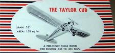 TAYLOR CUB PLANS + PARTS PATTERNS to Build Veco / Dumas 1/2A RC Model Airplane