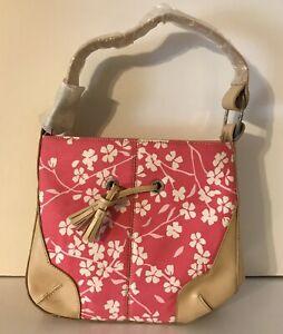 Bath & Body Works Bag Floral Zip Top Purse Tote Japanese Cherry Blossom Handbag