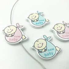 """15pcs Baby shape wood Beads """"new baby"""" For Crafts Baby Pacifier clip making 34mm"""