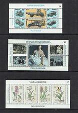 Sweden 1980/2 3 miniature sheets, motor vehicles, flowers, cinema,  MNH