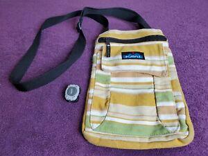 Kavu Keeper Crossbody Messenger Bag Canvas Yellow Zipper Pocket Purse -EXCELLENT