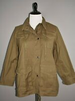 LAURIE FELT NEW $110 Zip/Snap Front Hooded Anorak Jacket in Olive 1X