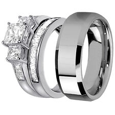 Steel Engagement Wedding Ring Band Set Hers Bridal Sterling Silver His Stainless