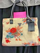 NEW! GUESS FURRINA Travel Tote CARRY ON Luggage Bag Floral Creme Fabric GORGEOUS
