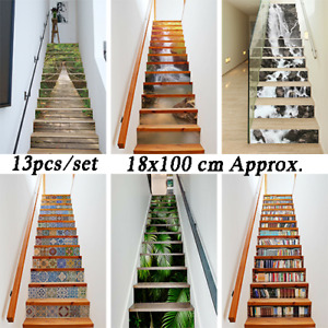 13pcs/set Stair Riser Staircase Stickers Wall Tiles Forest Decals Self Adhesive