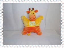 T - Doudou Peluche Semi Plat Girafe Orange Jaune Nicotoy Ma Ptite Tribu