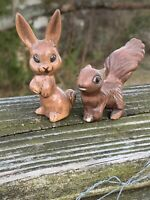 Vintage RABBIT & SQUIRREL Figurines Statues Shelf Sitters Antique Primitive ❤️m9