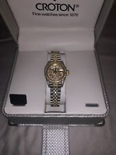 CROTON Automatic DIAMOND ENCRUSTED Ladies WATCH Skeleton Back Sapphire Crystal