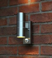 Motion Sensor Stainless Steel Wall White Light Outdoor Mains Powered Garden