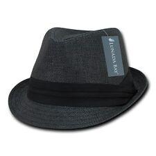 Black Mesh Brim Hipster Paper Straw Woven Braid Band Fedora Fedoras Hat Sz L/XL