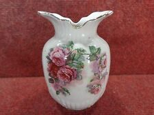 "VICTORIAN STAFFORDSHIRE Pink & Red Roses 5.25"" Vase c1890s FREE UK POSTAGE"