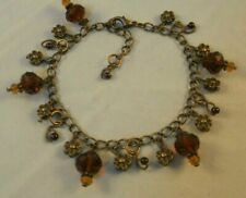 Antique Bronze tone Glass Pearl Crystal Flower charm bracelet Mothers Day Gift