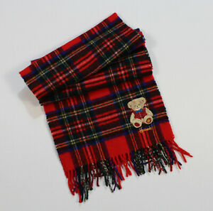 Unisex Harrods Scarf Check Plaid Red Lambswool