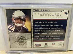 2002 Pacific Heads Update Game Worn Jerseys Patch #33 Tom Brady22/85 VERY RARE