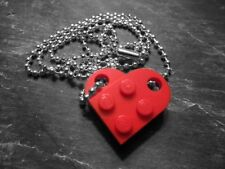 Love Heart Necklace - Red - Dark Red - Pink - Lego Heart - Love & Friendship