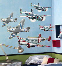 WALLIES AIRPLANES wall stickers MURAL 6 big prepasted planes room decor