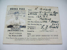 2ww workers photo identity card for odhams watford issued  25 july 1940