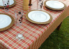 1.4x2.5m OBLONG RED HEARTS OILCLOTH / PVC WITH PARASOL HOLE / GARDEN TABLECLOTH