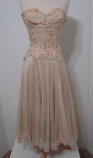 Vintage Cream Chiffon Embroidered Rhinestone Trim Full Swing Gown UCS Studio S