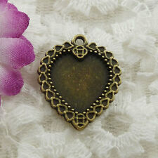 Free Ship 34 pieces bronze plated heart charms 25x21mm #121