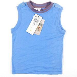 Columbia Sleeveless Shirt Youth Medium Blue Logo Outdoor Activewear Epaulet Boys