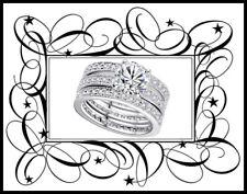Platinum Plated Cubic Zirconia Wedding Ring Set