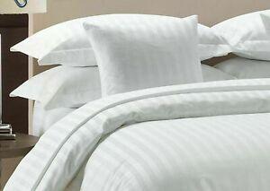 White Striped Split Corner Bed Skirt Choose Drop Length US Size 800 Count
