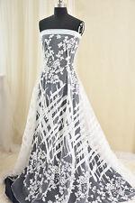 "51"" large broderie florale en dentelle de mariée tissu cordon mariage tissu en dentelle 1/2 y"