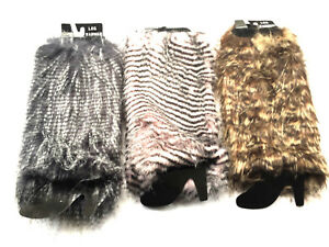 Ladies Girls Faux Fur Leg Warmers  Fully Lined Winter Leg Ankle Sleeve Muffs