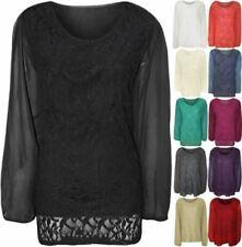 Womens Plus Size Floral Lace Sheer Long Sleeve Top Ladies Chiffon Tunic Shirt