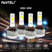 9005+9006 6000K 393000LM Combo FANLESS CREE LED Headlight Kit Hi-Low Light Bulbs
