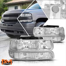 For 99-02 Chevy Silverado/00-06 Suburban Bumper Headlight/Lamp Clear Side Chrome