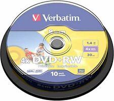 10 Verbatim DVD+RW Printable 8CM 1.4GB 30 mins for camcorders 43509 spindle