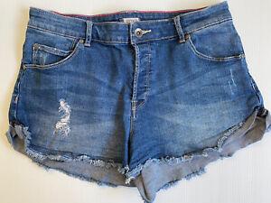 Roxy Size 29 (AU 10 to 12) Women Shorts - Blue Distress Denim Shorts