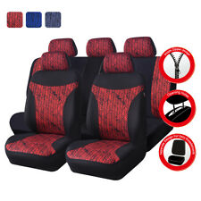 Universal Car Seat Cover Red Black For Women Boy Full Set Airbag Fit 40/60 50/50